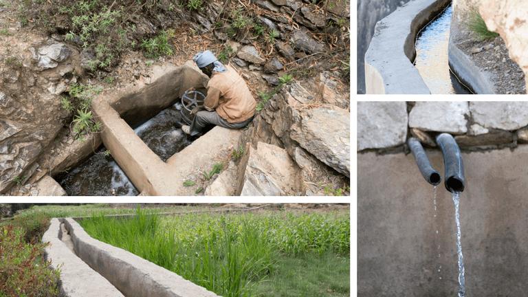 <p>Grâce à un bon système d'irrigation, l'eau n'est plus perdue. Les canaux de terre et de branches ont été remplacés par des canaux en bétons. </p>