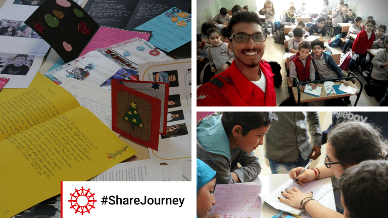 <p>Des jeunes réfugiés syriens au Liban répondent aux lettres qu'ils viennent de recevoir de jeunes belges.</p>