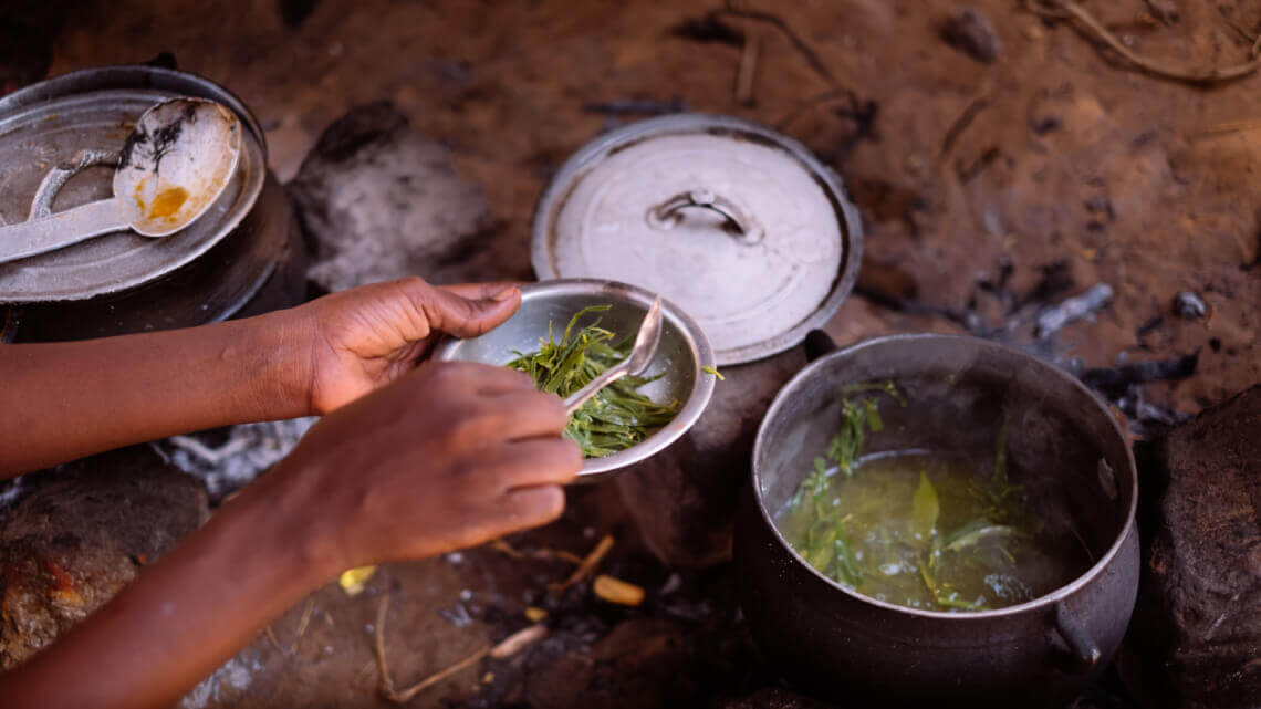 Caritas International België Moeders trekken uit wanhoop de bladeren van de bomen als eten voor de kinderen
