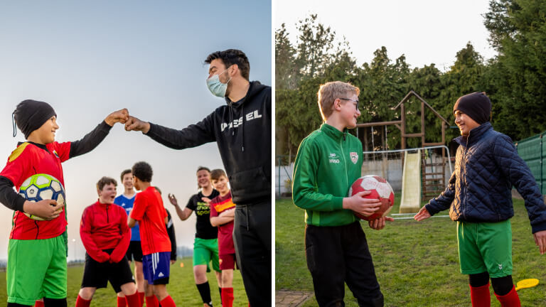 <p><em>©Isabel Corthier – Le club de football local a accueilli Fares à bras ouverts. Avec son ami Hugo, ils rêvent d'une carrière chez les Diables Rouges.</em></p>