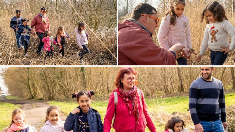 <p><em>©Isabel Corthier – Thierry, Linda, leur petite fille et la famille profitent d'un beau mercredi après-midi pour découvrir ensemble les crapauds dans les roseaux.</em></p>